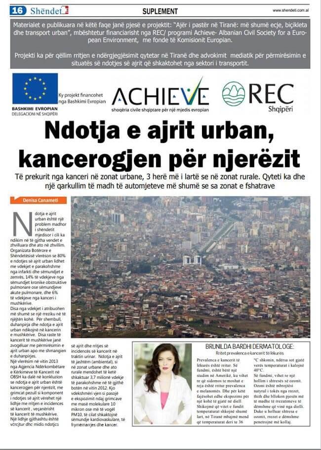 Ndotja e ajrit urban kancerogjen për njerëzit