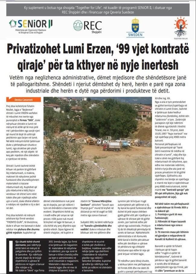 Privatizohet Lumi Erzen 99 vjet kontratë qiraje për ta kthyer në nyje inertesh